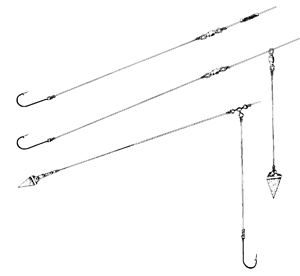 Common bottom rigs used for carp or catfish.