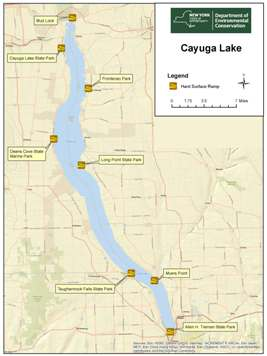 Small map of Cayuga Lake of the Finger Lakes