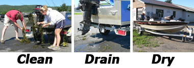 Series of images to clean, drain, and dry boats