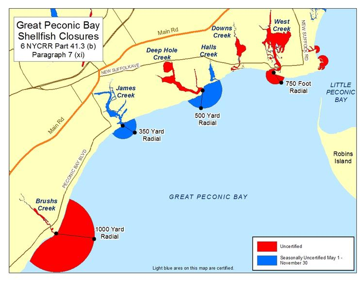 Image of shellfish closures at Great Peconic Bay