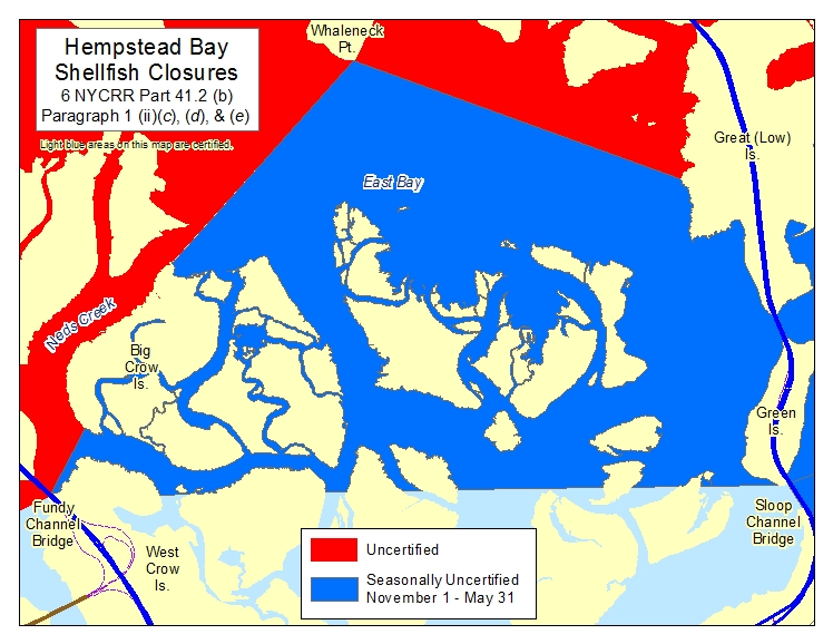 Map of Hempstead Bay East Bay Shellfish Closures