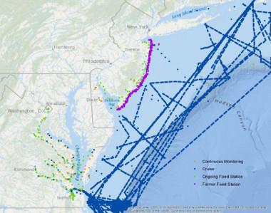 Map of Mid-Atlantic Coastal Acidification Network Monitoring