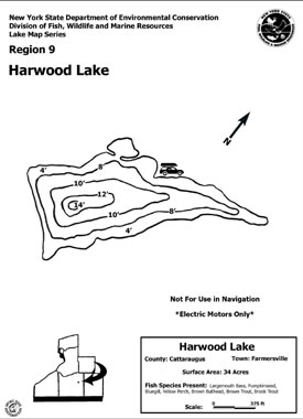 Contour map thumbnail of Harwood Lake - (180 KB PDF file)