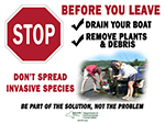 Don't spread invasive species boat ramp sign