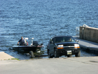 Launching boat at ramp