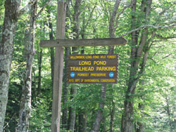 Long Pond trailhead sign
