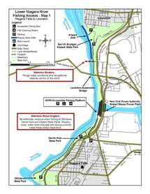 Thumbnail view of Lower Niagara River fishing access map.