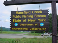 Mansfield Creek Public Fishing Rights Access Site Sign