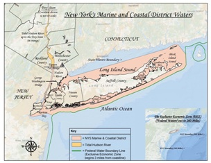 Map of Long Island with pink shaded area representing NYS's Marine and coastal District