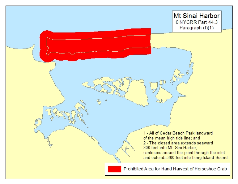 Map of Closed Horseshoe Crab Areas - NYS Dept  of