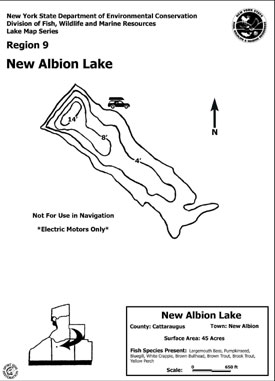 Contour map thumbnail of New Albion Lake - (176 KB pdf file)