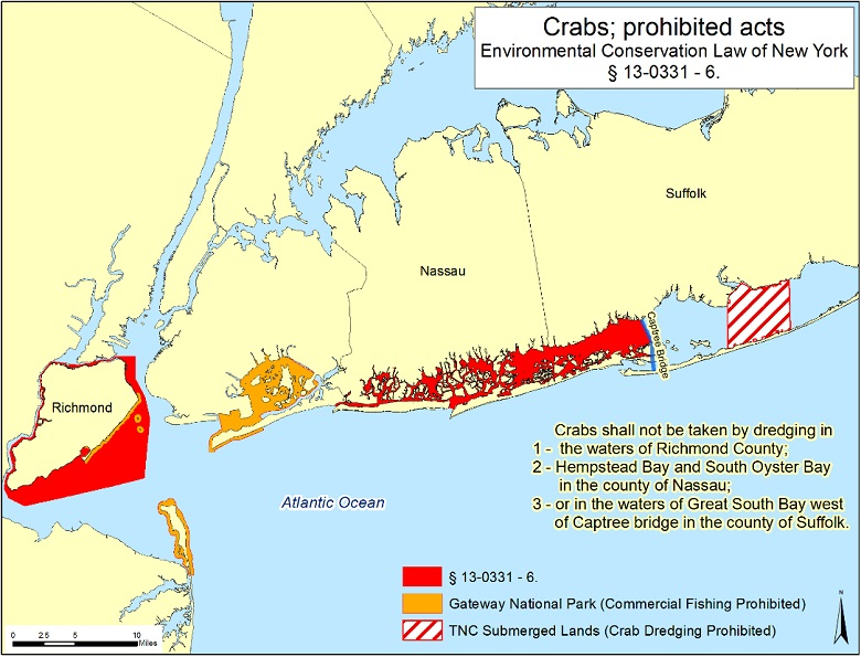 Map of prohibited crab dredging areas nys dept of for Nys saltwater fishing permit