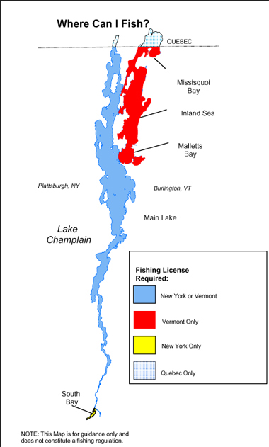 lake champlain on map Lake Champlain Reciprocal Fishing License Nys Dept Of lake champlain on map