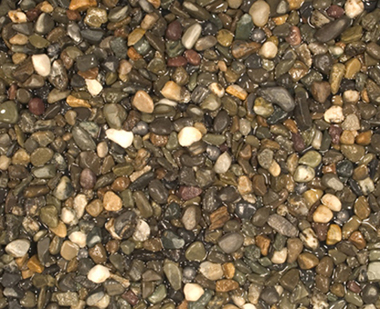 A photo of lead split shots mixed with pebbles