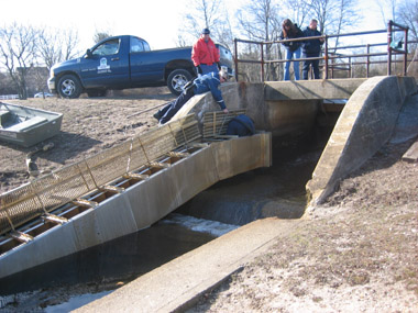 Image of ive people working on the construction of passageways for fish across a dam.