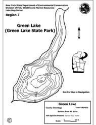drawing of Green Lakes Contour Map
