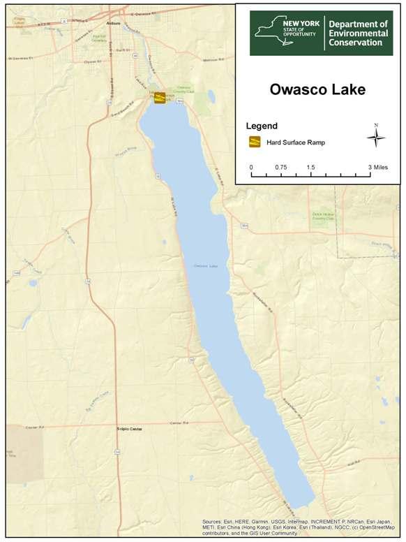 Large Map Of Owasco Lake