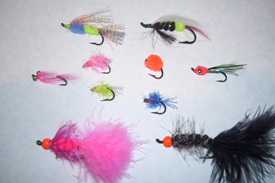 Some examples of flies for salmon fishing.