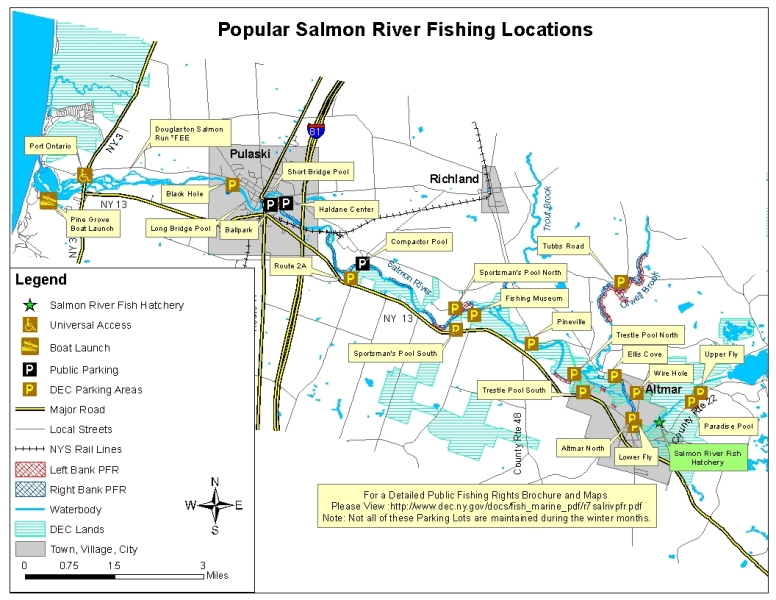 Map of the salmon river nys dept of environmental for Nys fishing seasons