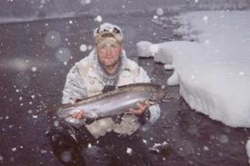 Winter steelhead angler