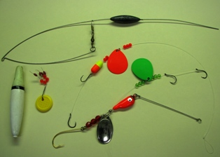 Photo of tackle used when bait fishing for walleye