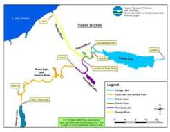 Map of water bodies associated with the seneca river