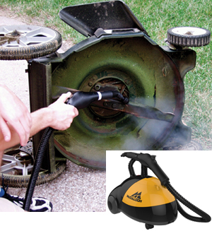 Image of steam cleaning a lawnmower with a household steam cleaner.