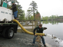 Stocking trout from a DEC hatchery truck
