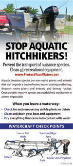 Stop Aquatic Hitchhikers poster of a boat on a trailer