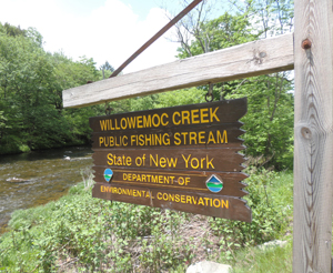 Willowemoc Creek Public Fishing Stream sign with creek in background.