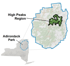 Map of showing the High Peaks Region of the Adirondacks