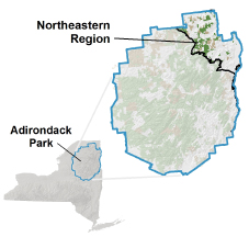 Map of showing the Northeastern Region of the Adirondacks