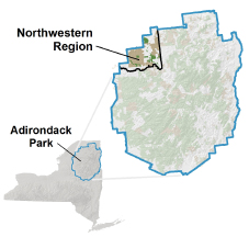 Map of showing the Northwestern Region of the Adirondacks