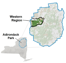 Map of showing the Western Region of the Adirondacks