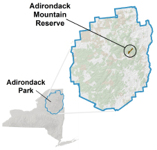 Adirondack Mountain Reserve locator map
