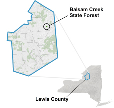 Balsam Creek State Forest locator map