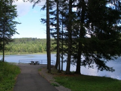 Accessible path and fishing platform at Basswood Pond