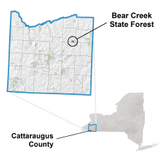Bear Creek State Forest locator map