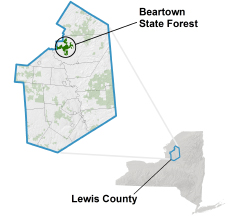 Beartown State Forest locator map
