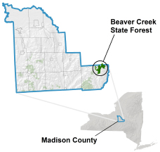 Beaver Creek State Forest locator map