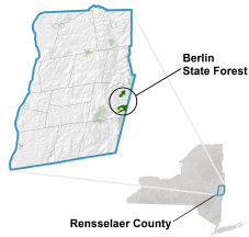 Berlin State Forest locator map