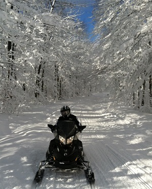 Snowmobiler riding on a trail in Boutwell Hill State Forest