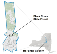 Black Creek State Forest locator map