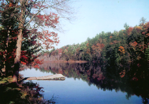 view of Onteora Lake in autumn