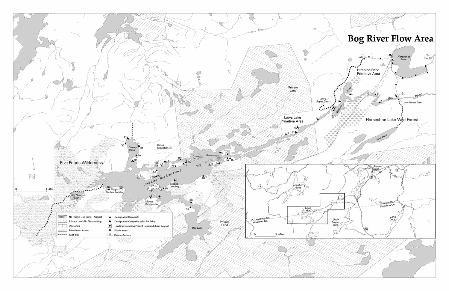 Map showing campsites along Bog River Flow (Lows Lake)