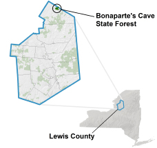 Bonaparte's Cave State Forest locator map