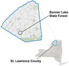 Bonner Lake State Forest locator map