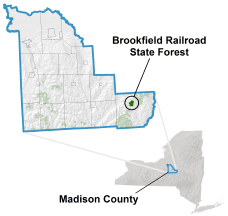 Brookfield Railroad State Forest locator map