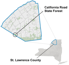 California Road State Forest locator map