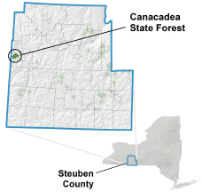 Location map of Canacadea State Forest